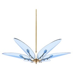 Max Ingrand Dahlia Style Chandelier Blue Glass Brass, Italy Mid Century
