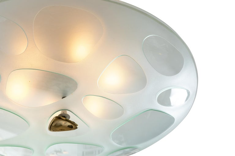 Max Ingrand Flush Mount Chandelier for Fontana Arte, Italy, 1950s In Good Condition In New York, NY