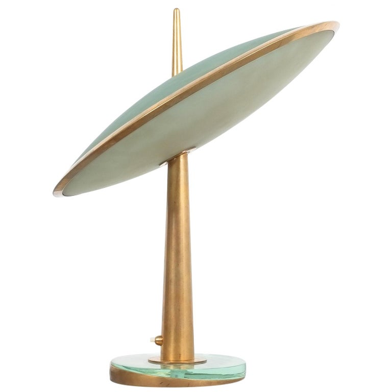 Max Ingrand for Fontana Arte Disco Volante table lamp, 1955, offered by Derive