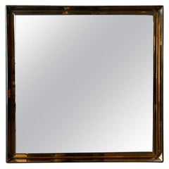 Max Ingrand Fontana Arte Mirror Mod.2377 Coloured Cut Glass Frame Black Wood