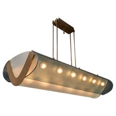 Max Ingrand Fontana Arte No 2296 Ceiling Lamp in Glass, Brass and Metal, 1964