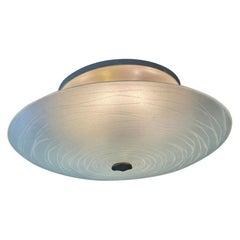 Max Ingrand Fontana Arte Plafone Lamp Engraved Glazed Crystal Brass, Italy 1950s