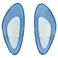 Max Ingrand for Fontana Arte Exceptional Pair of Blue Glass Sconces Italy, 1960s