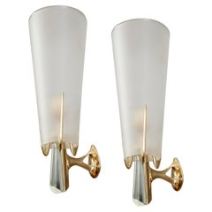 Max Ingrand for Fontana Arte Four Rare Sconces in Brass and Crystal, Italy, 1955