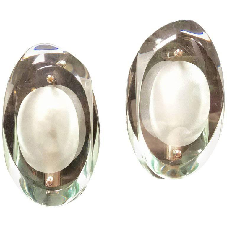 Max Ingrand for Fontana Arte Glass Sconces Wall Lamps Nickel-Plated Brass For Sale