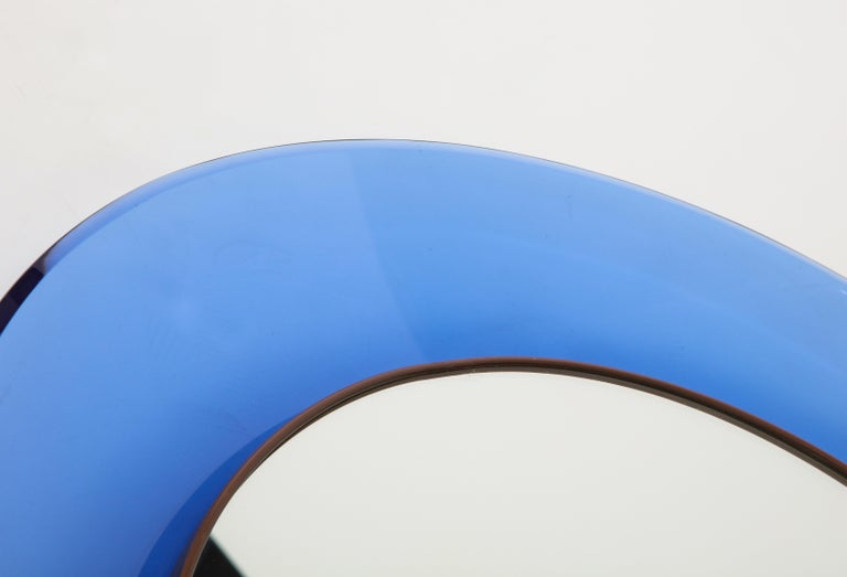 Max Ingrand for Fontana Arte Blue Mirror Model 1669 In Good Condition For Sale In New York, NY