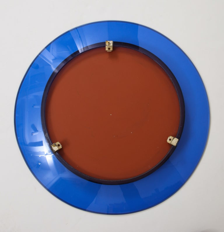 Mid-20th Century Max Ingrand for Fontana Arte Blue Mirror Model 1669 For Sale