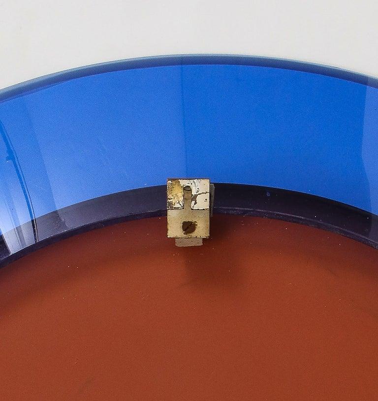 Brass Max Ingrand for Fontana Arte Blue Mirror Model 1669 For Sale