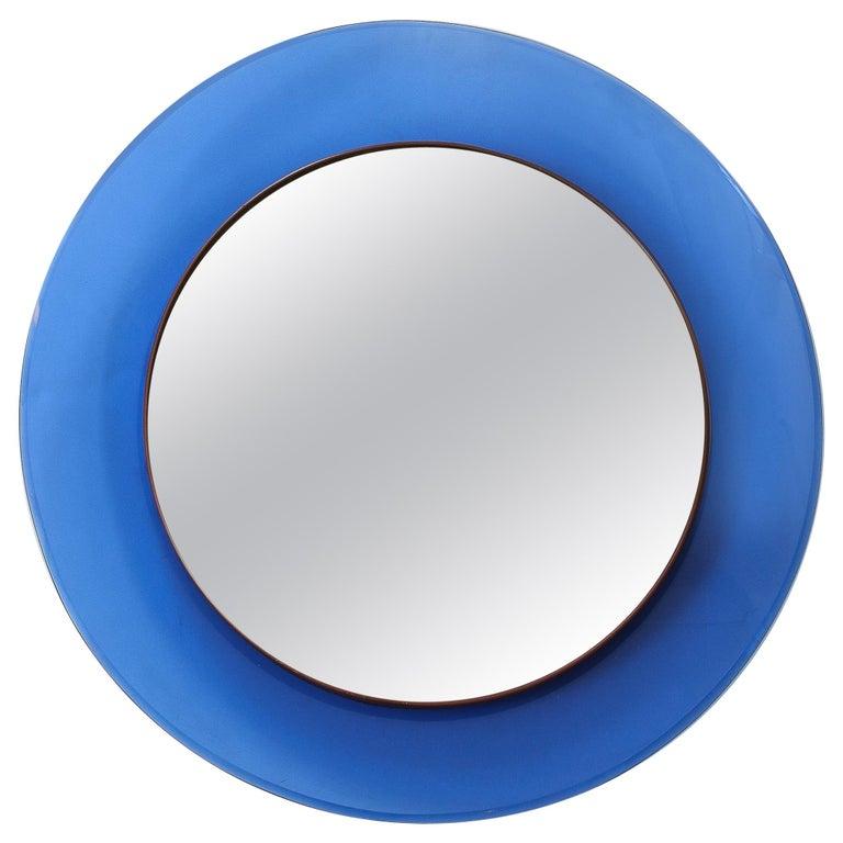 Max Ingrand for Fontana Arte Blue Mirror Model 1669 For Sale