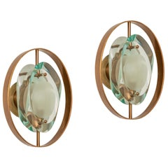 Max Ingrand for Fontana Arte Rare Pair of 'Micro' Sconces Model 2240