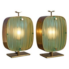 Max Ingrand for Fontana Arte Pair of Rare Table Lamps Model 'A 2049'
