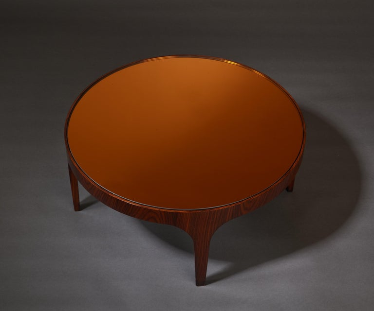 Max Ingrand for Fontana Arte Rosewood Coffee Table with Mirrored Top, Italy 1960 For Sale 3