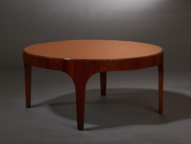 Mid-Century Modern Max Ingrand for Fontana Arte Rosewood Coffee Table with Mirrored Top, Italy 1960 For Sale