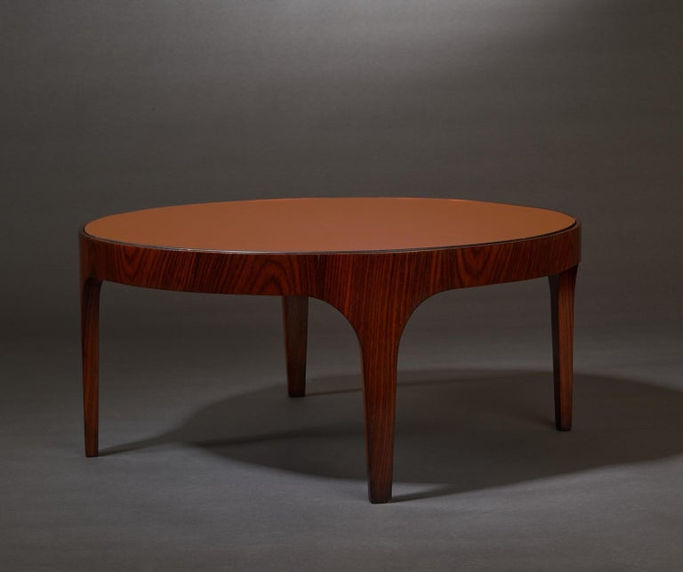 Italian Max Ingrand for Fontana Arte Rosewood Coffee Table with Mirrored Top, Italy 1960 For Sale