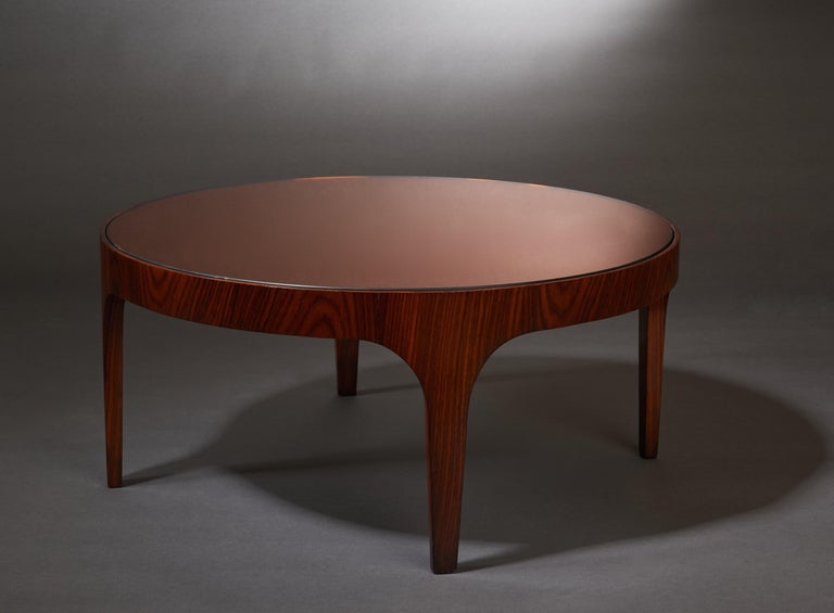 Max Ingrand for Fontana Arte Rosewood Coffee Table with Mirrored Top, Italy 1960 In Good Condition For Sale In New York, NY