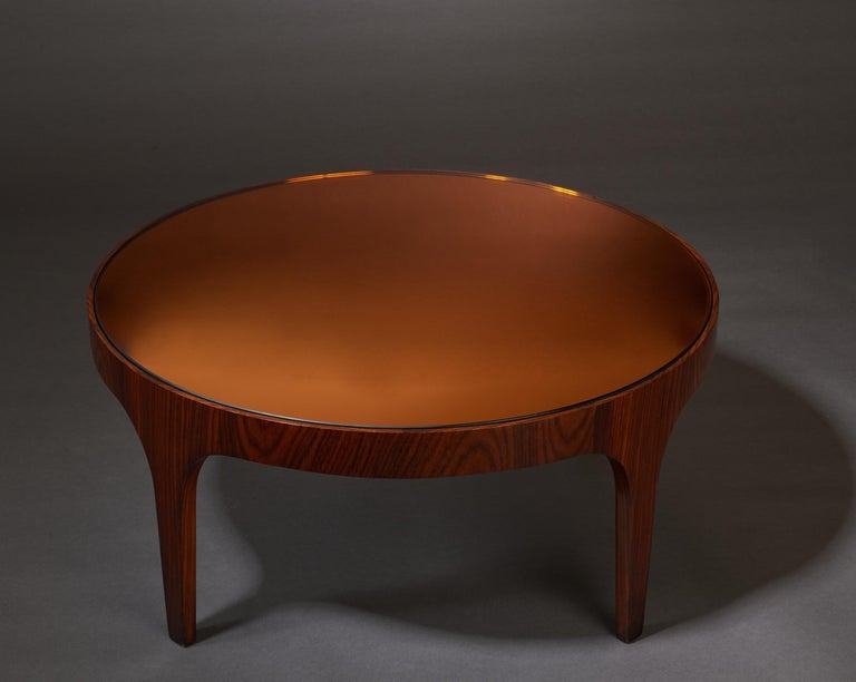 Max Ingrand for Fontana Arte Rosewood Coffee Table with Mirrored Top, Italy 1960 For Sale 2