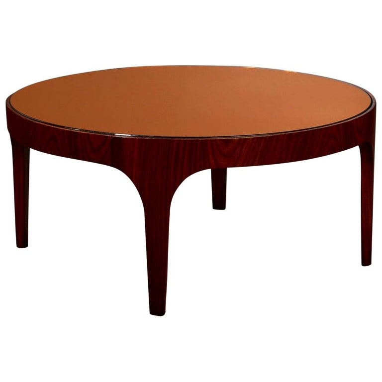 Max Ingrand for Fontana Arte Rosewood Coffee Table with Mirrored Top, Italy 1960 For Sale