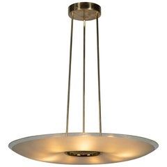 Max Ingrand Italian Design Chandelier circa 1960 Big and Elegant Frosted Glass