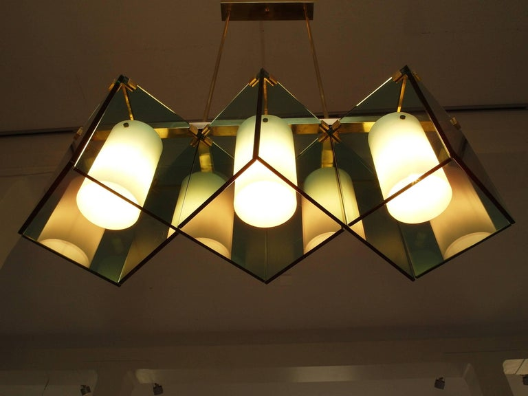 Brass Max Ingrand Large Chandelier for Fontana Arte, Model 2128, Italy, 1964 For Sale