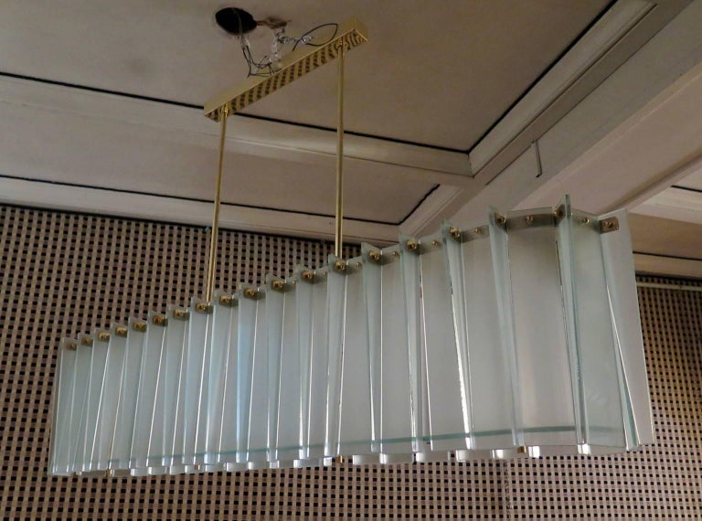Mid-20th Century Style of Max Ingrand Mid-Century Rectangular Glass and Brass Chandelier, 1960 For Sale
