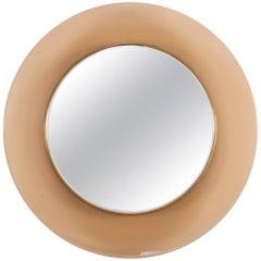 Max Ingrand Mirror for Fontana Arte with Peach Glass Surround