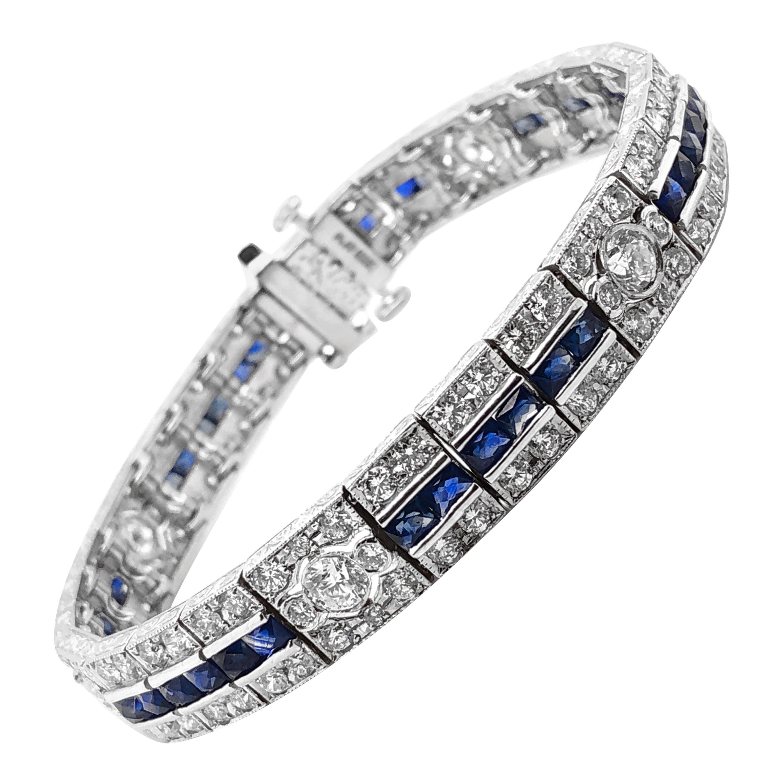 Ceylon French Cut Sapphires 6.14 Carat Diamonds Platinum Bracelet