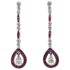 Max Jewelry Art Deco Inspired Rubies Diamonds Dangling Platinum Earrings
