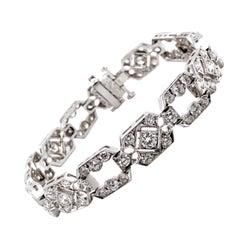 Max Jewelry Art Deco Round Diamonds 6.38 Carat Platinum Bracelet