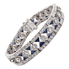 Trillion Ceylon Sapphires 6.93 Carat and Diamonds Platinum Bracelet