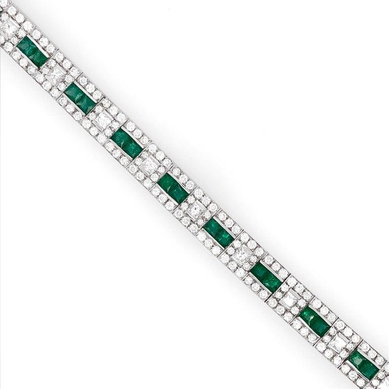Contemporary Art Deco Inspired Zambian Emeralds Diamonds Platinum Bracelet For Sale