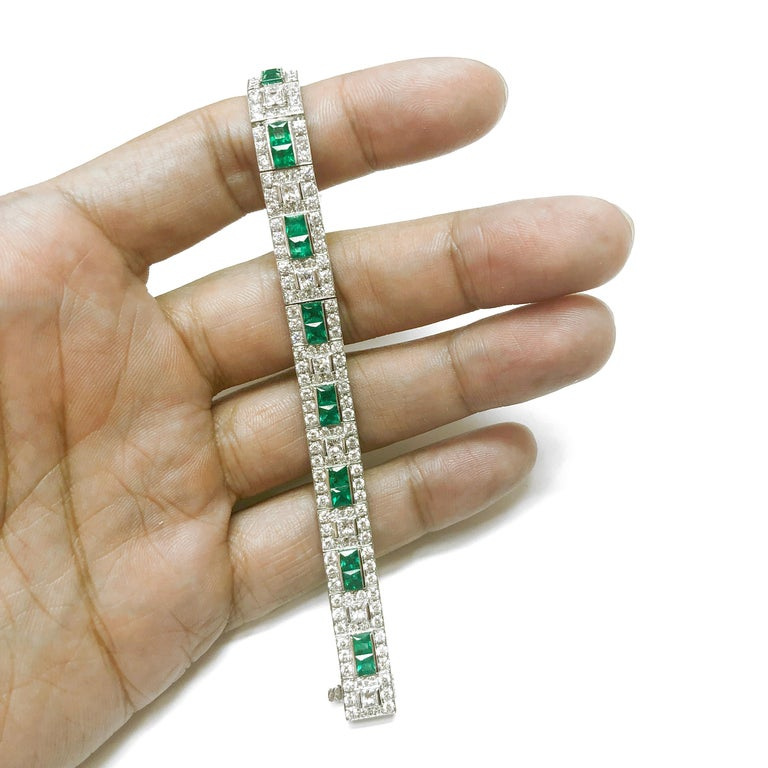 Zambian Princess Cut Emerald 6.28 Carat Diamond Platinum Bracelet In New Condition For Sale In New York, NY