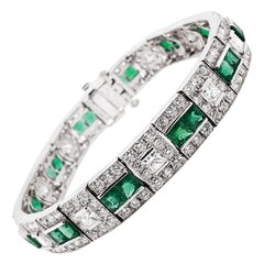 Art Deco Inspired Zambian Emeralds Diamonds Platinum Bracelet