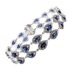Max Jewelry Ceylon Blue Pear Cut Sapphires White Diamonds Platinum Bracelet