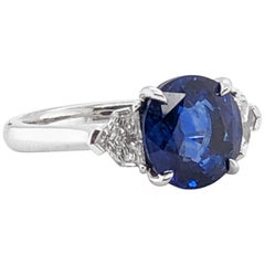 Ceylon Blue Sapphire 3.60 Carat with Diamonds Platinum Ring