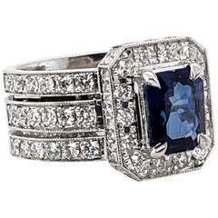 Ceylon Sapphire 1.98 Carat Diamonds Platinum Cocktail Ring