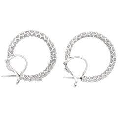 Classic Hoop Round Diamonds 8.12 Carat Platinum Earrings