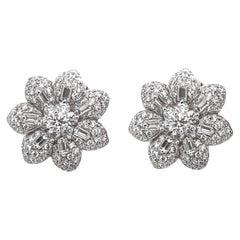Contemporary Flower Inspired Diamonds 4.55 Carat Platinum Earrings