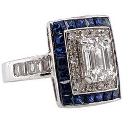 Diamond 1.26 Carat with Ceylon Blue Sapphires Platinum Cocktail Ring