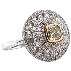 Fancy Yellow with Diamonds Gold Platinum Cocktail Ring