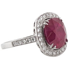 Burmese Cushion Ruby 5.06 Carat with Diamonds Platinum Ring