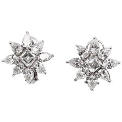 Max Jewelry GIA Certified Flower Diamonds Inspired Platinum Earrings