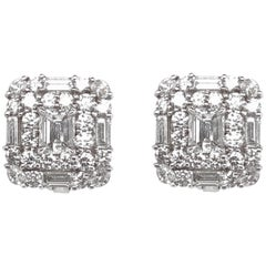 Max Jewelry GIA Certified Round Diamonds Square Platinum Earrings