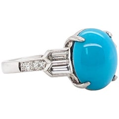 Max Jewelry Oval Turquoise 3.28 Carat and Diamond 0.85 Ct Platinum Cocktail Ring