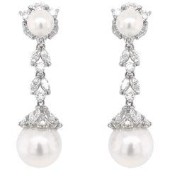 Max Jewelry Pearl Round Marquis Diamonds 5.09 Carat Platinum Dangle Earrings