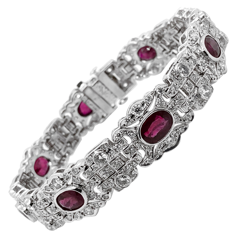 Oval Burmese Ruby Carat Diamond Platinum Bracelet