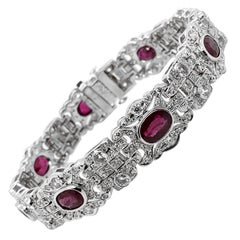 Burmese Rubies 6.17 Carat Round Diamonds Platinum Bracelet