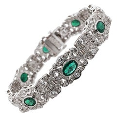Zambian Emeralds 5.68 Carat Diamond Platinum Bracelet
