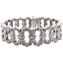 Round Natural Diamonds 12.38 Carat Platinum Bracelet