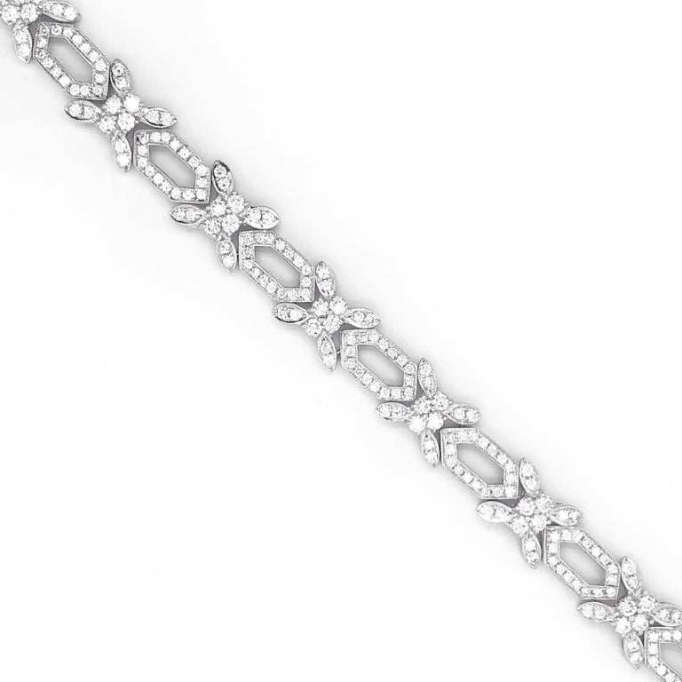 Retro / vintage inspired classic slim platinum 950 bracelet adorned with round natural diamonds 8.31 ct in G-H color clarity VS.  Diamonds against the platinum get that extra sparkle and shimmer.