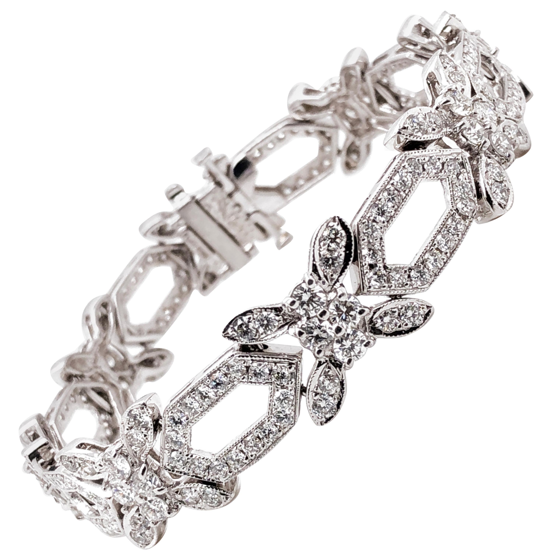 Round Natural Diamonds 8.31 Carat Slim Platinum Bracelet